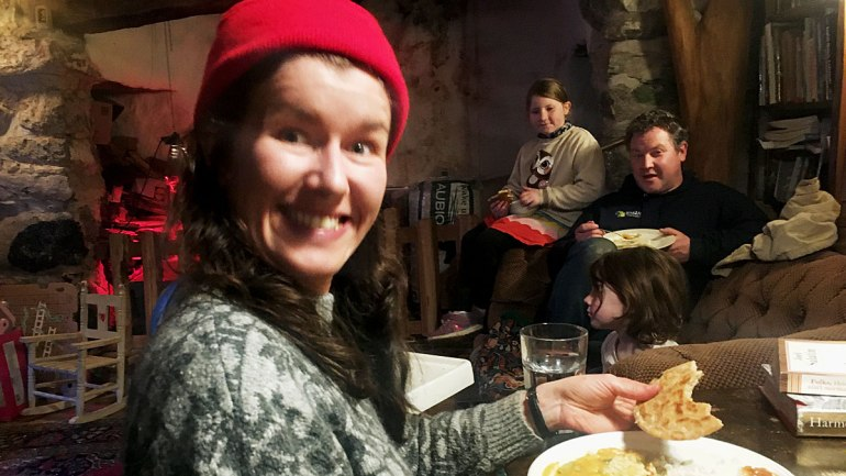 Gathered for dinner at Henbant permaculture farm (c) Rianne Mason