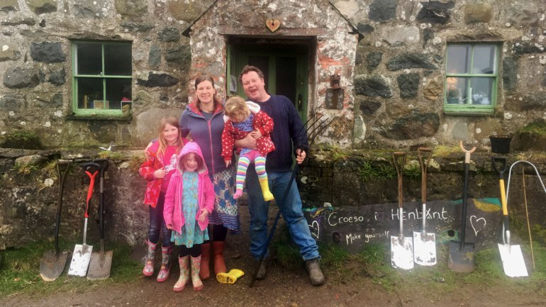 The Swarbrick family at Henbant permaculture farm (c) Rianne Mason