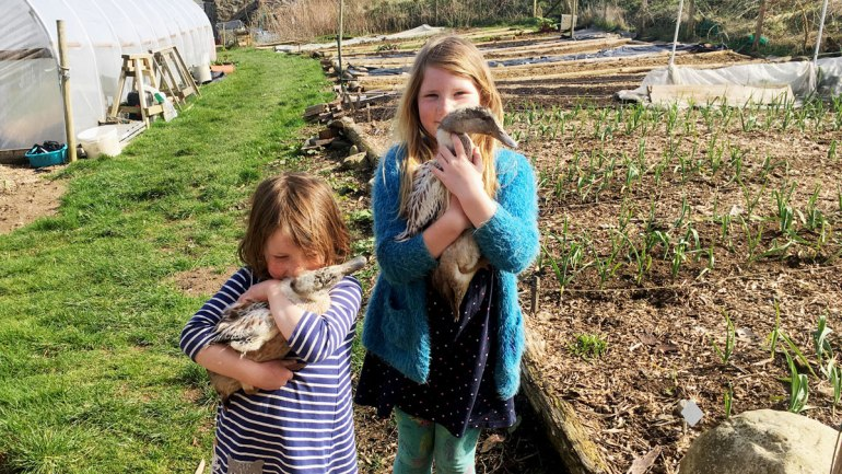 Meryn and Nel with ducks at Henbant (c) Rianne Mason